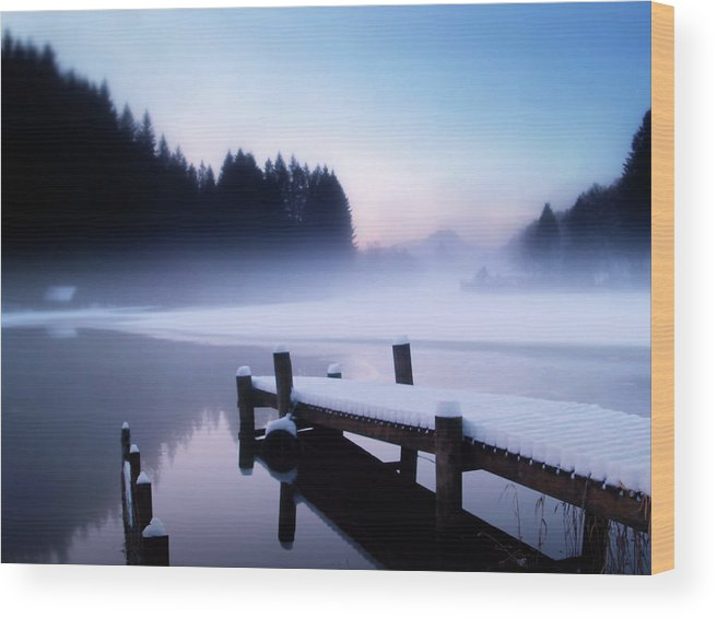 Loch Ard Wood Print featuring the photograph Winter Blues by Amanda Finan