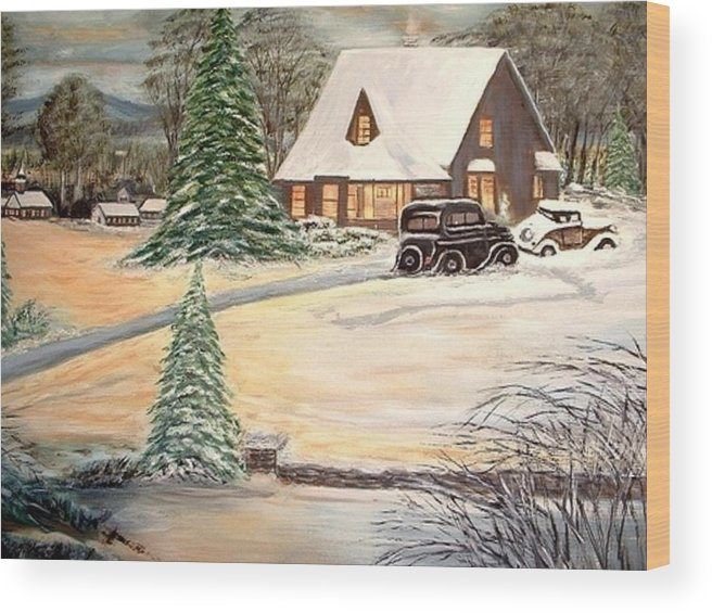 Landscape Home Trees Church Winter Wood Print featuring the painting Winter Home by Kenneth LePoidevin