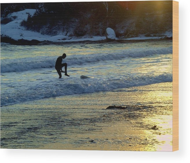 Winter Wood Print featuring the photograph Winter Surfing 3 by Heidi Kummer
