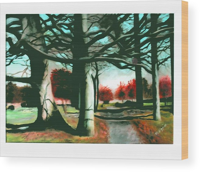 Art Wood Print featuring the painting Winter Trees by Marie Higgins