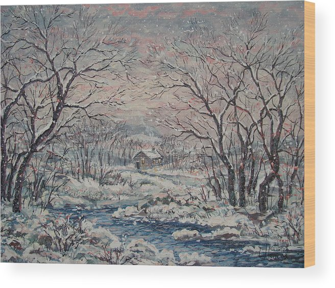 Landscape Wood Print featuring the painting Wintery December by Leonard Holland