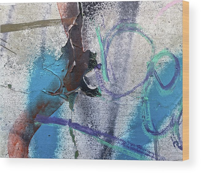 Blue Wood Print featuring the digital art Wounded Concrete by Dan Reich