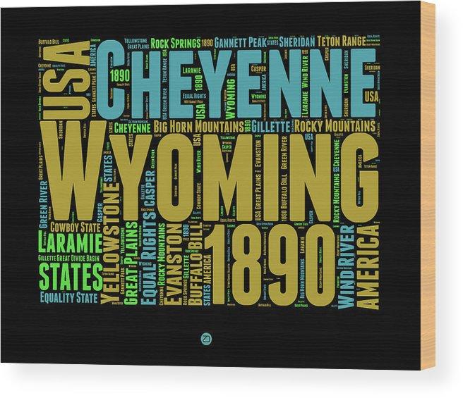 Wyoming Wood Print featuring the digital art Wyoming Word Cloud Map 1 by Naxart Studio