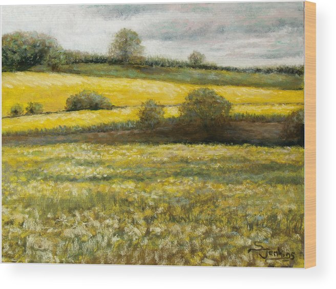 Landscape Wood Print featuring the painting Yellow Fields by Susan Jenkins