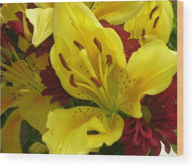 Yellow Iris Wood Print featuring the photograph Yellow Floral by Nancy Ferrier