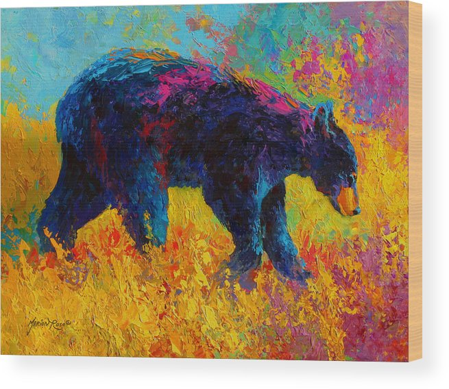 Bear Wood Print featuring the painting Young And Restless - Black Bear by Marion Rose