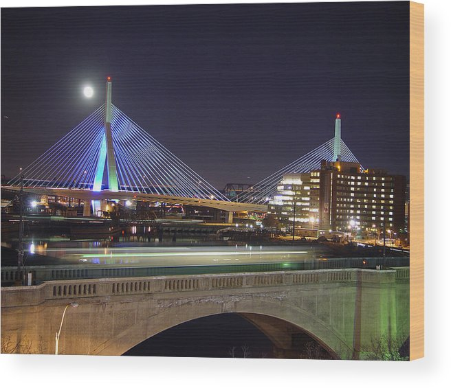 Night Wood Print featuring the photograph Zakim Bridge by Eric Workman