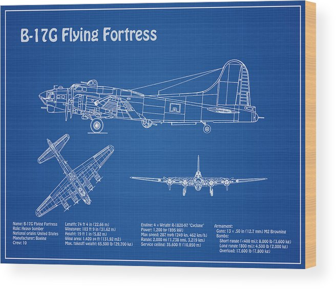 B-17 Flying Fortress - Airplane Blueprint  Drawing Plans For The Wwii  Boeing B-17 Flying Fortress Wood Print