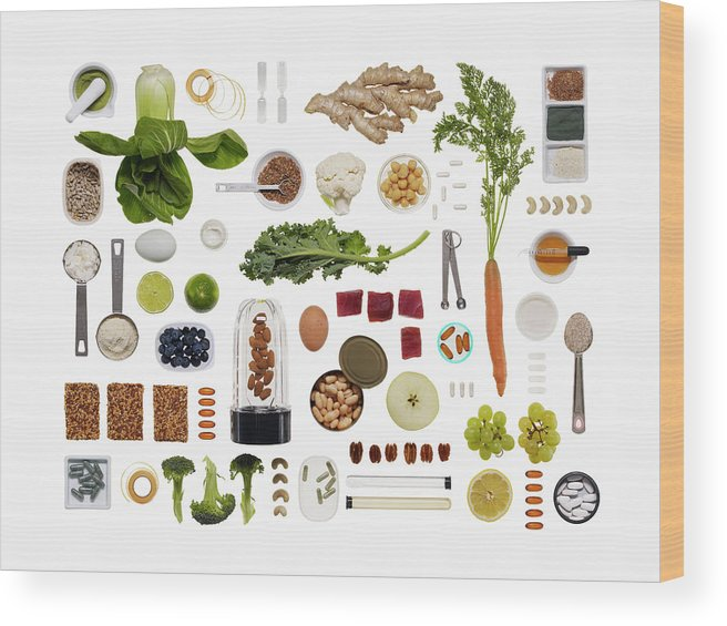 White Background Wood Print featuring the photograph A Healthy Diet Food Grid by Dwight Eschliman