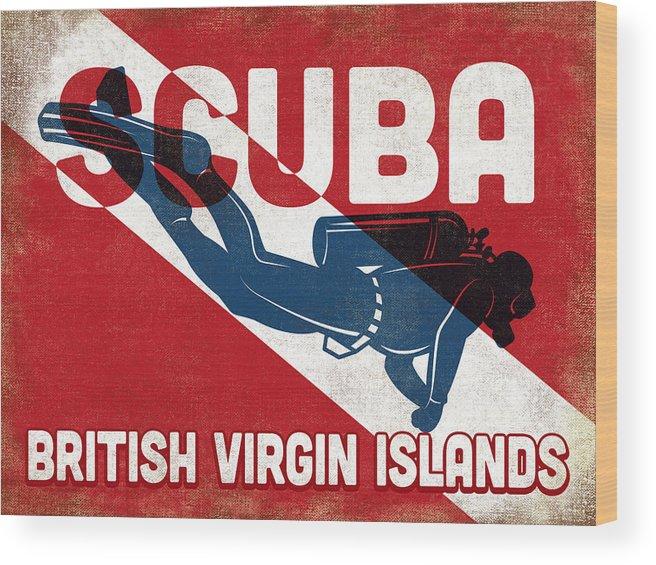 British Virgin Islands Wood Print featuring the digital art British Virgin Islands Scuba Diver - Blue Retro by Flo Karp