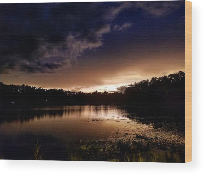 Sunset Wood Print featuring the photograph Dark Reflections by Shena Sanders