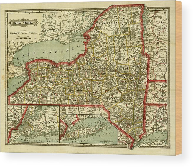 Old Map Of New York.New York State Old Map Wood Print