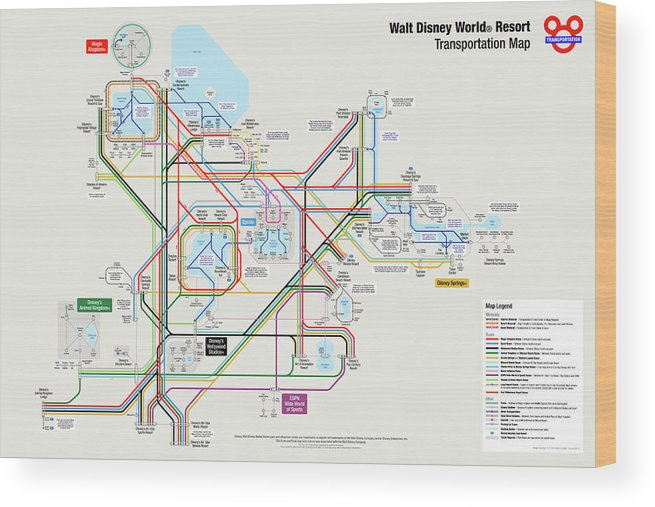 Walt Disney World Resort Transportation Map Wood Print by Arthur De on