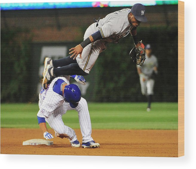 People Wood Print featuring the photograph Jean Segura And Kyle Schwarber by David Banks