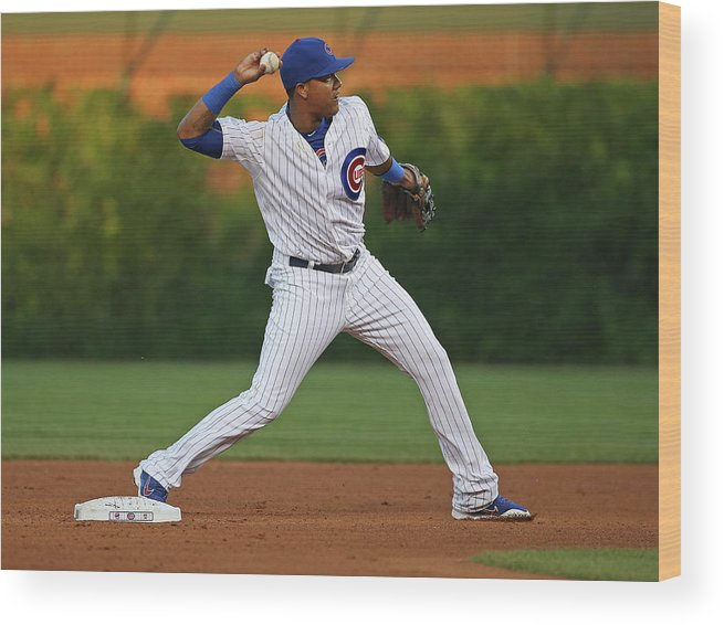 People Wood Print featuring the photograph Starlin Castro by Jonathan Daniel