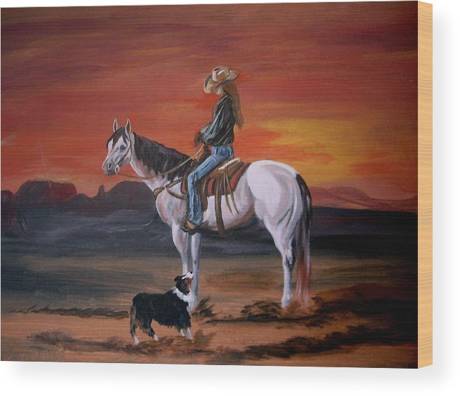 Desert Wood Print featuring the painting Friends Sharing A Sunset by Glenda Smith