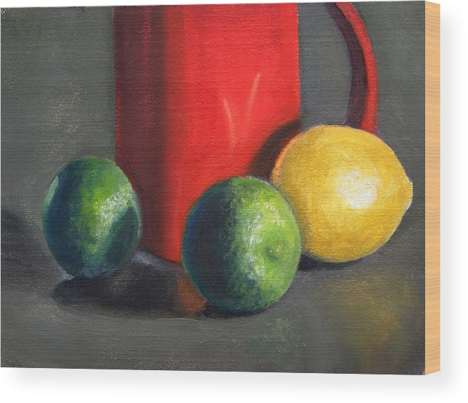 Still Life Wood Print featuring the painting Lemon And Limes by Becky Alden