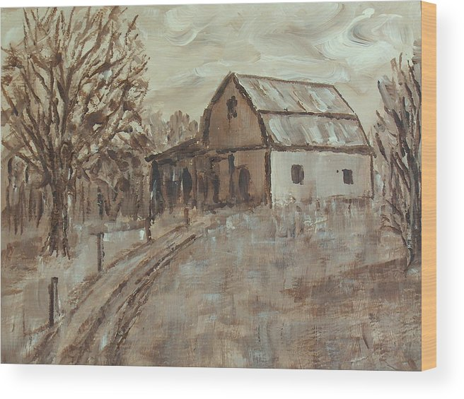Barn Wood Print featuring the painting Mcginnis Barn by Pete Maier