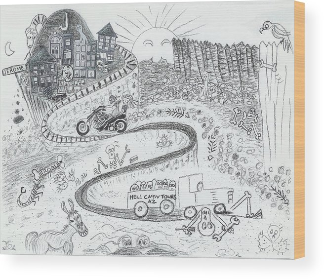Road Wood Print featuring the drawing The Road To Jerome Arizona by Ingrid Szabo