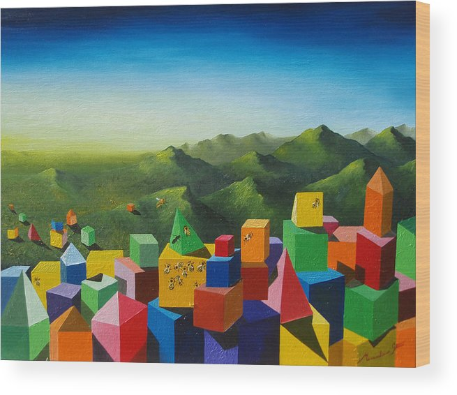 Cubes Wood Print featuring the painting Neverland by Massimiliano Stanco