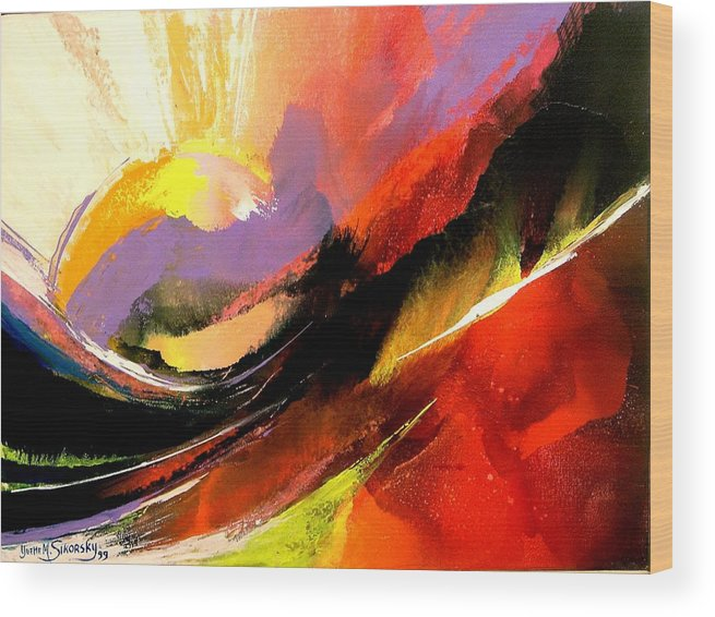 Abstract Wood Print featuring the painting Sunset by Yvette Sikorsky