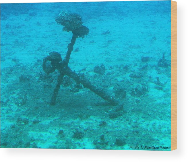Sea Wood Print featuring the photograph Underwater Anchor by Nicole I Hamilton