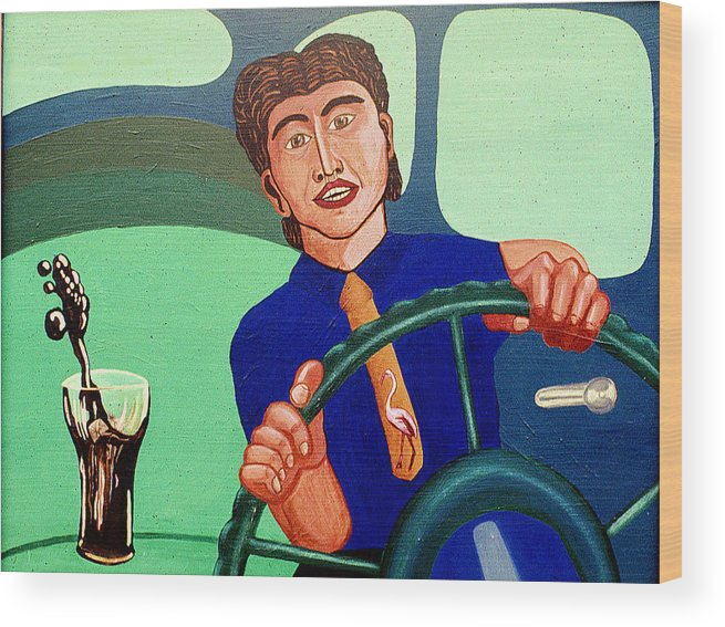 Surreal Fantasy Portraits Wood Print featuring the print Man Driving With Coke by Paul Knotter