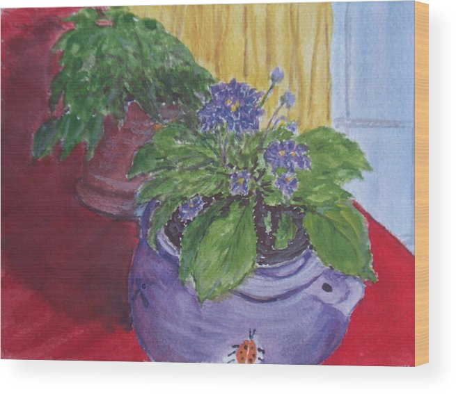 Still Life Wood Print featuring the painting Dads Violets by Pete Maier