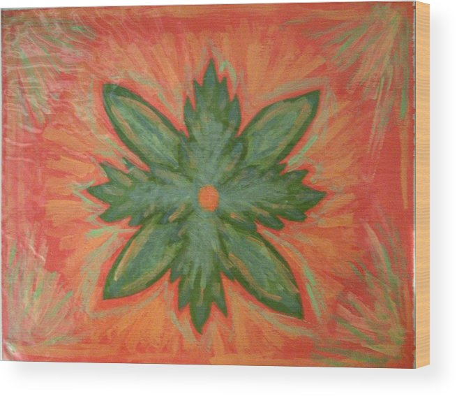 Flower Wood Print featuring the painting Green Dream by Laura Lillo