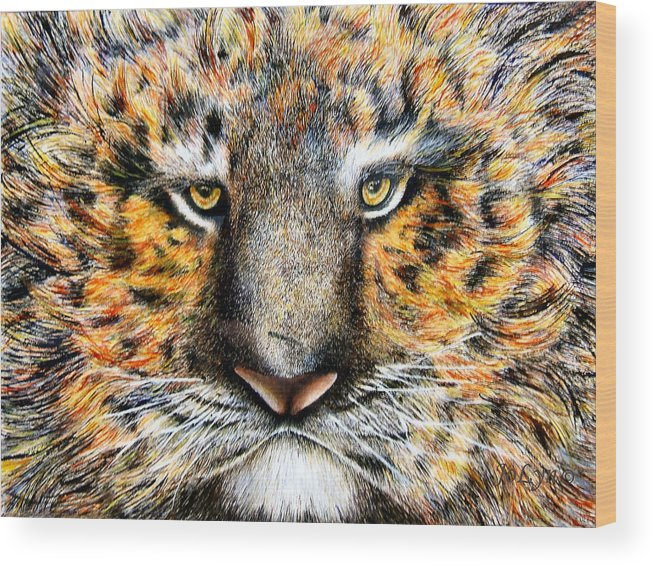 Tiger Wood Print featuring the painting Tig The Tiger With An Attitude by JoLyn Holladay