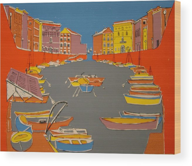 Wood Print featuring the painting Leghorn Canal by Biagio Civale
