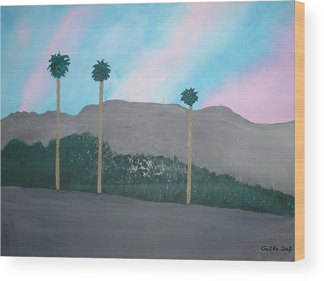 Desert Wood Print featuring the painting Three Palm Trees In The Desert by Harris Gulko