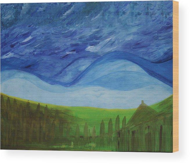 Wood Print featuring the painting Fresh Breez From Dream World by Prakash Bal Joshi