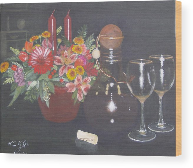 Flower Arrangement Wood Print featuring the painting Celebrating 60 by KC Knight