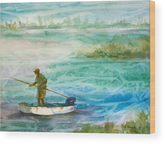 Seascape Wood Print featuring the painting Poling The Flats by Ruth Mabee