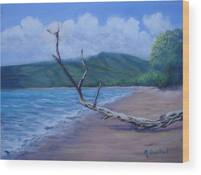 Landscape Wood Print featuring the painting Kihei Beach Tree by Maxine Ouellet