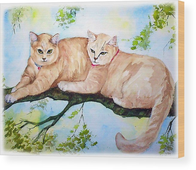 Feline Wood Print featuring the painting Milo And Timon by Gina Hall