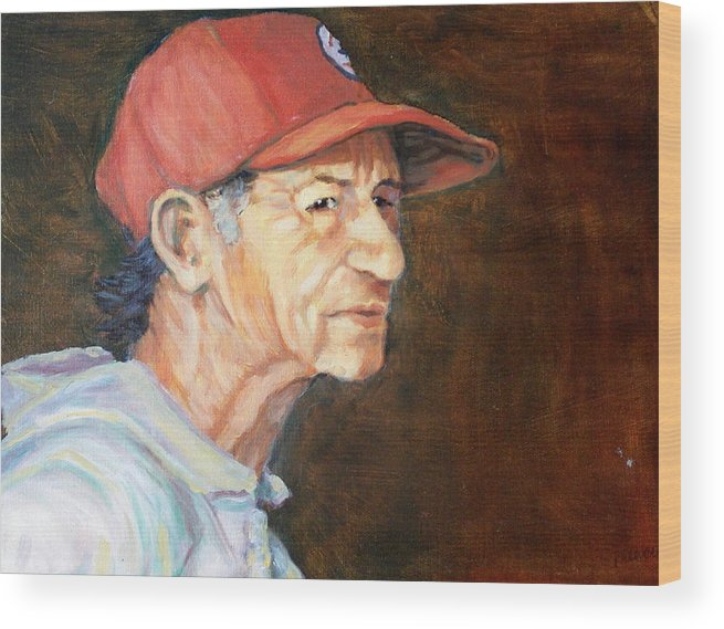 Old Man Wood Print featuring the painting Man In Red Cap by Ruth Mabee