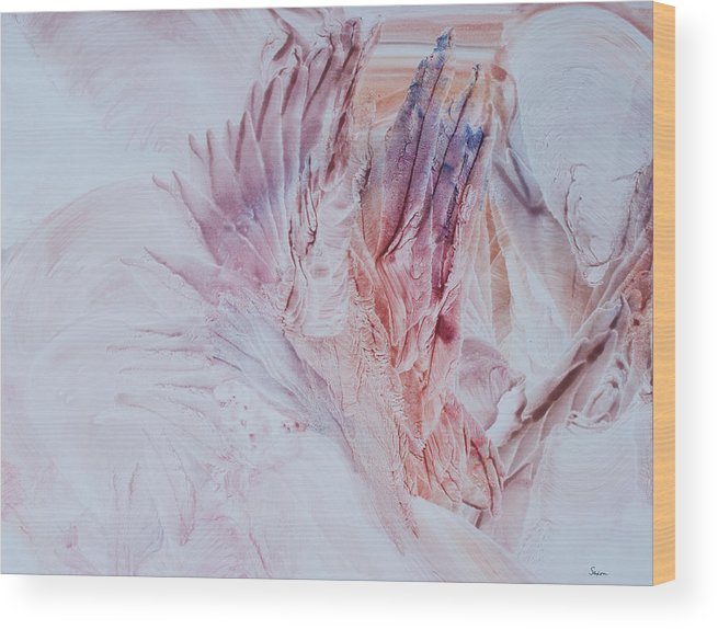 Contemporary Abstract Expressionism Wood Print featuring the painting The Desert Blooms by Sharon Saxon