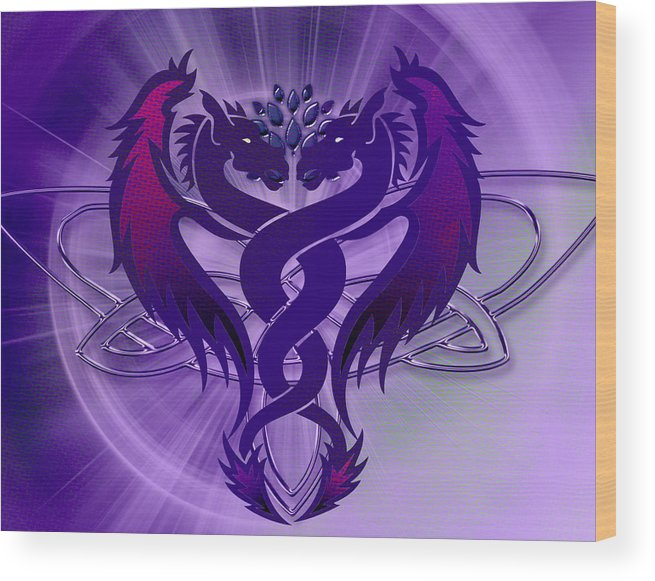 Purple Wood Print featuring the digital art Dragon Duel Series 4 by Teri Schuster