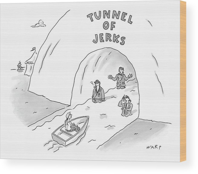 Tunnel Of Jerks Wood Print featuring the drawing Tunnel Of Jerks by Kim Warp