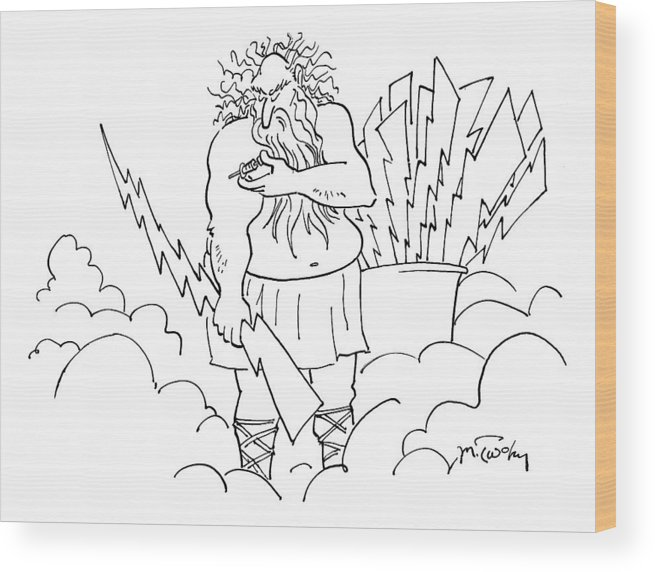 Zeus Wood Print featuring the drawing New Yorker January 21st, 2008 by Mike Twohy