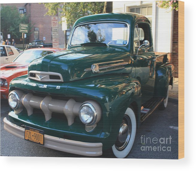 1952 Ford Pick Up Truck Front And Side View Wood Print featuring the photograph 1952 Ford Pick Up Truck Front And Side View by John Telfer