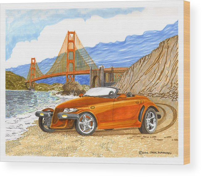 2002 Plymouth Prowler Sexy & Tight Seamed Sports Car Wood Print featuring the painting 2002 Plymouth Prowler by Jack Pumphrey