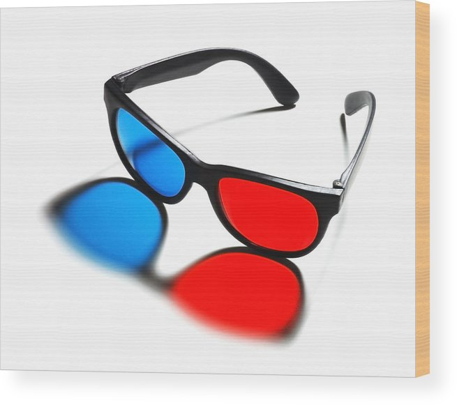 Mid Century Wood Print featuring the photograph 3d Glasses by Jim Hughes