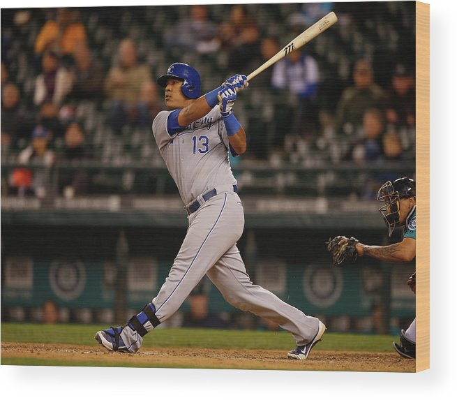 Salvador Perez Diaz Wood Print featuring the photograph Kansas City Royals V Seattle Mariners by Otto Greule Jr