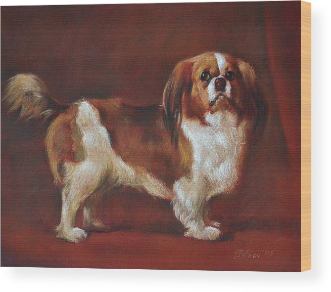 Pastel Wood Print featuring the painting A King Charles Spaniel by Iliyan Bozhanov