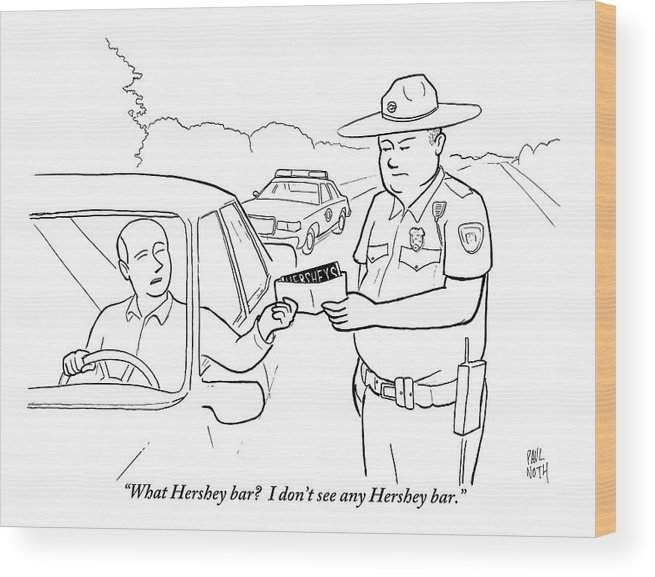 A Man Attempts To Bribe A Traffic Police Officer Wood Print by Paul Noth