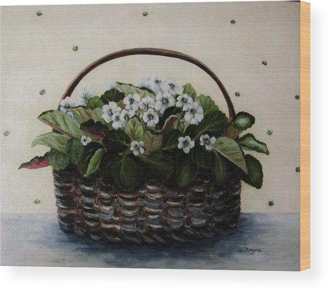 African Violets Wood Print featuring the painting African Violets In Basket by Mimi Saint DAgneaux