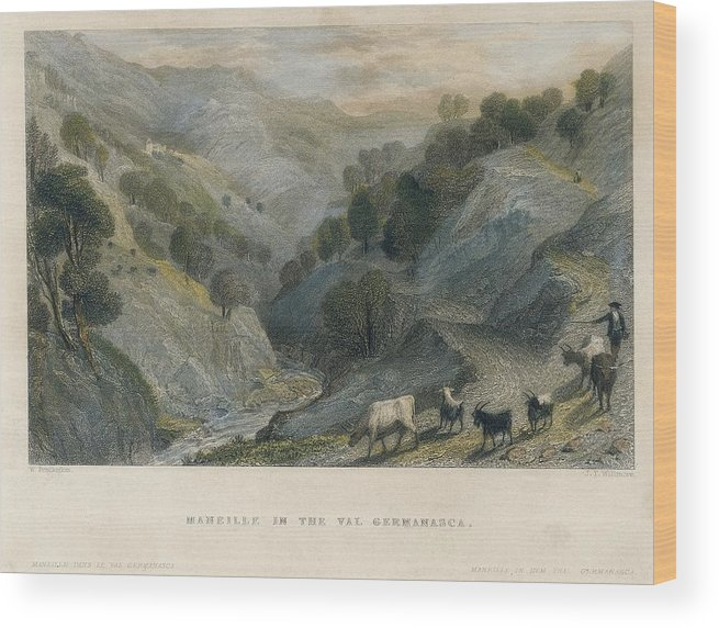 Horizontal Wood Print featuring the photograph Alps. Shepherd In Germanasca Valley by Everett